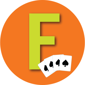 "A letter ""F"" is shown with four cards all with spades on them."
