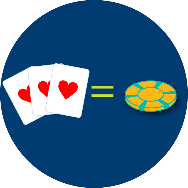 Three cards with a heart symbol and a poker chip have an equal sign between them.
