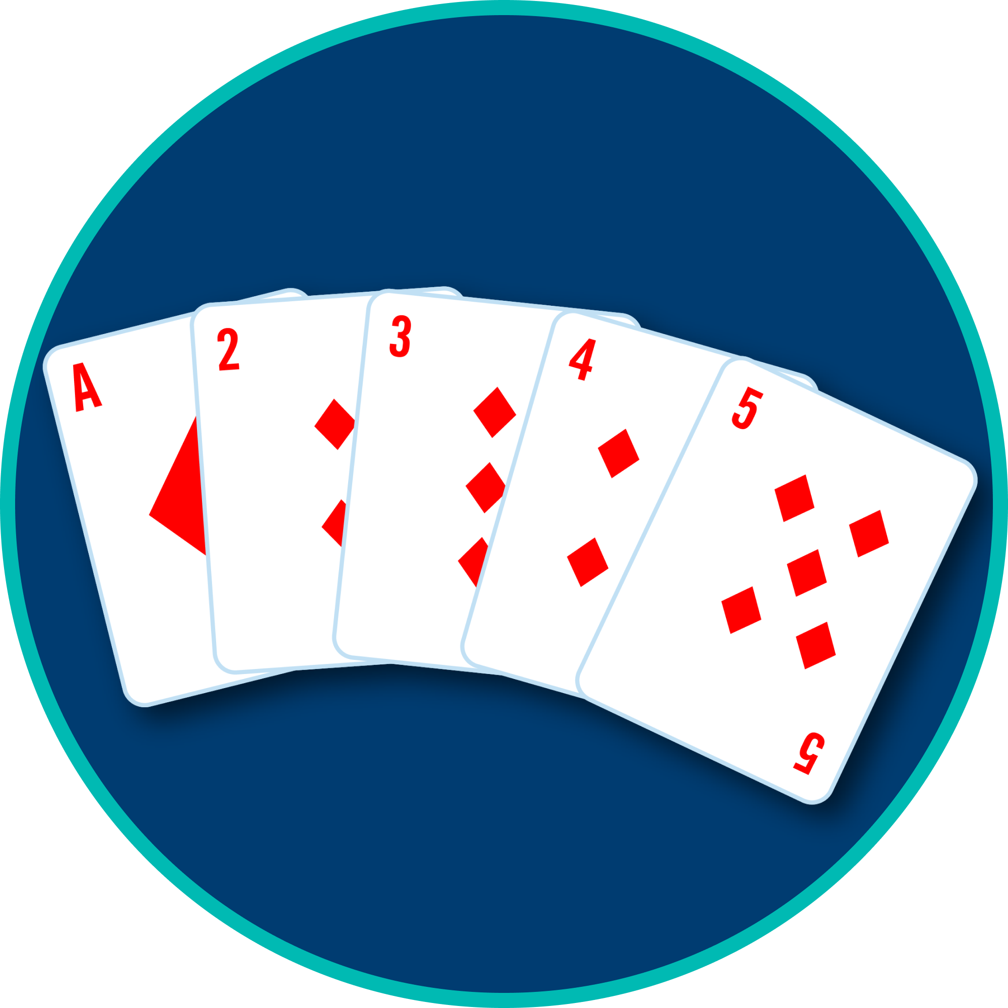 5 cards are shown: an Ace, 2, 3, 4 and 5 of diamonds.