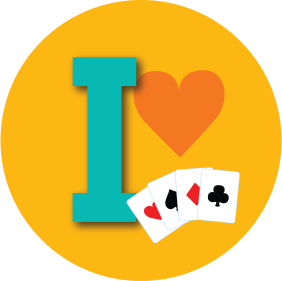 "An icon shows ""I"", a heart and four cards, each from a different suit."