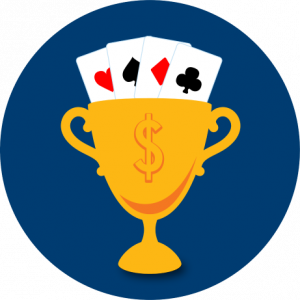 A trophy is shown with four cards fanning out, each from a different suit.