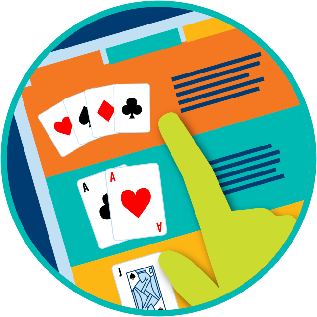 A catalogue of games is shown with a finger pointing at the first option showing 4 cards from each suit.