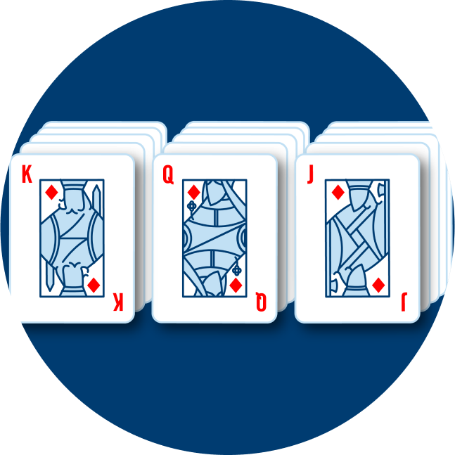Three stacks of cards are shown. One stack has a King of Diamonds on top, another has a Queen of Diamonds and the last has a Jack of Diamonds.