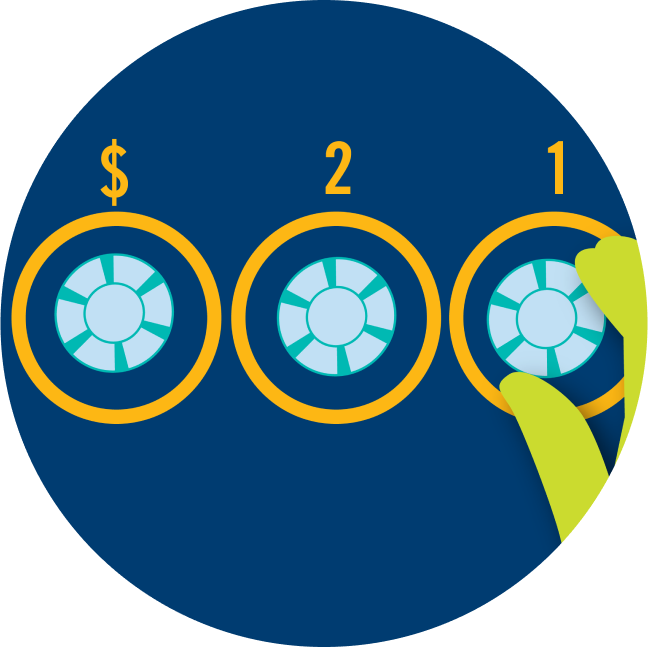 Three betting areas are shown, each with a poker chip. From right to left, one circle has 1 written on top, another has 2 and the last has a dollar sign.