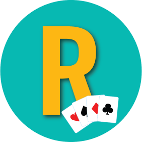 "A letter ""R"" is shown with a card from every suit."
