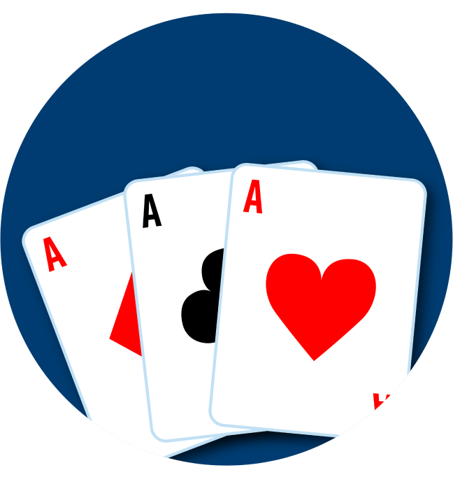 Three cards are shown: an Ace of Diamonds, an Ace of Clubs, and an Ace of Hearts.
