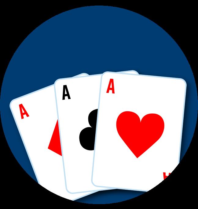 三張牌分別為一張方塊A,一張梅花A和一張紅心A。
