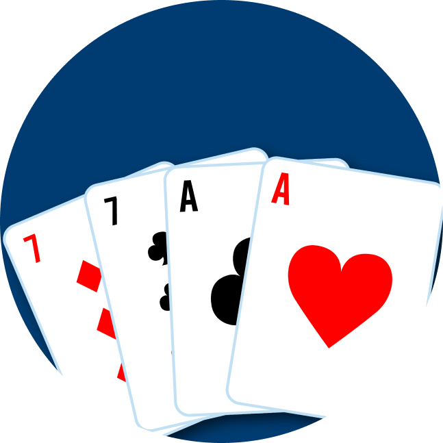 Four cards are shown: a 7 of diamonds, a 7 of clubs, an Ace of Clubs and an Ace of Hearts.