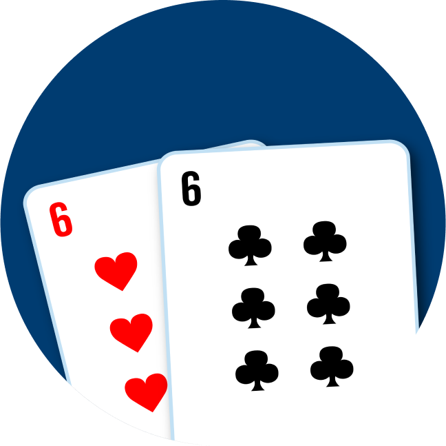 Two cards are shown to make up a pair of sixes: a 6 of hearts and a 6 of clubs.