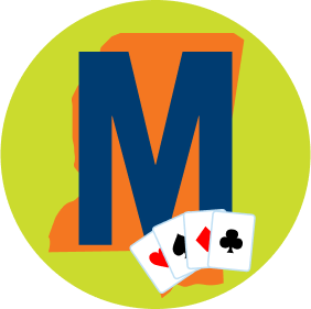 "A letter ""M"" with a map of Mississippi in the background is shown with four cards, each from a different suit."