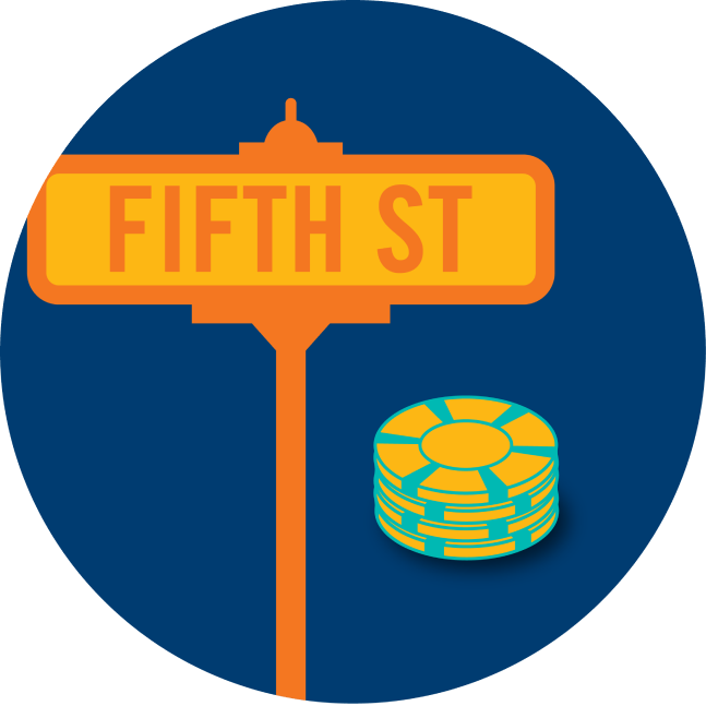 """A street sign that says """"Fifth Street"""" is shown next to a stack of poker chips."""