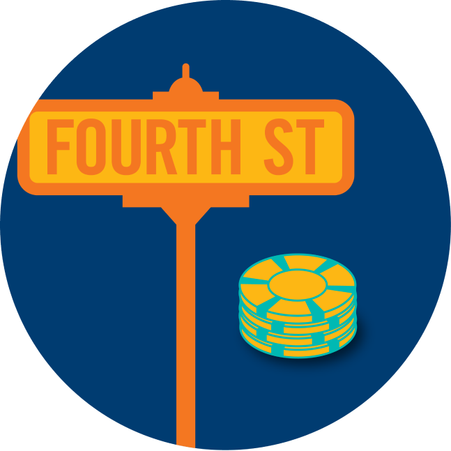 """A street sign says """"Fourth Street"""" is shown next to a stack of poker chips."""