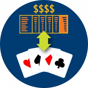 A double arrow points at a pay table and some cards.