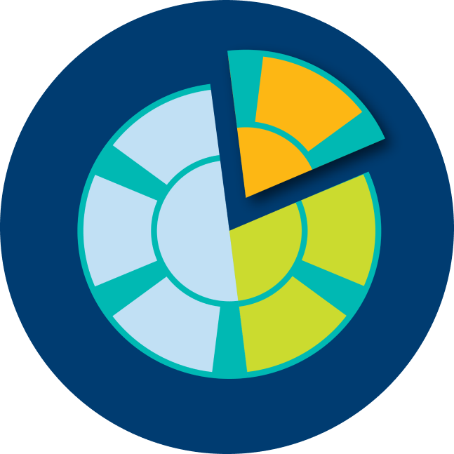 A poker chip is used as a pie chart visual, with a piece breaking away from it.