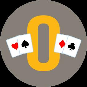 Deux cartes se trouvent de chaque côté d'un « O ». Il y a une carte de cœur et une carte de pique à gauche, et une carte de carreau et une carte de trèfle à droite.