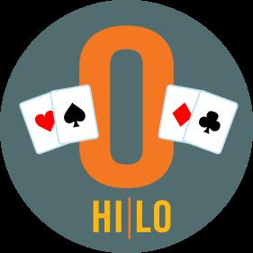 Deux cartes se trouvent de chaque côté d'un « O ». Il y a une carte de cœur et une carte de pique à gauche, et une carte de carreau et une carte de trèfle à droite. Hi/Lo est inscrit en dessous.