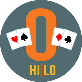 "A letter ""O"" has two cards on each side. On the left is a card with the heart symbol, then one with a spade. On the right is a card with a diamond symbol, then one with clubs. On the bottom, it reads Hi/Lo."