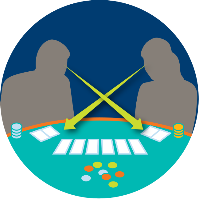 Two players look at each other's cards, symbolized by arrows pointing towards the opposite player's cards.