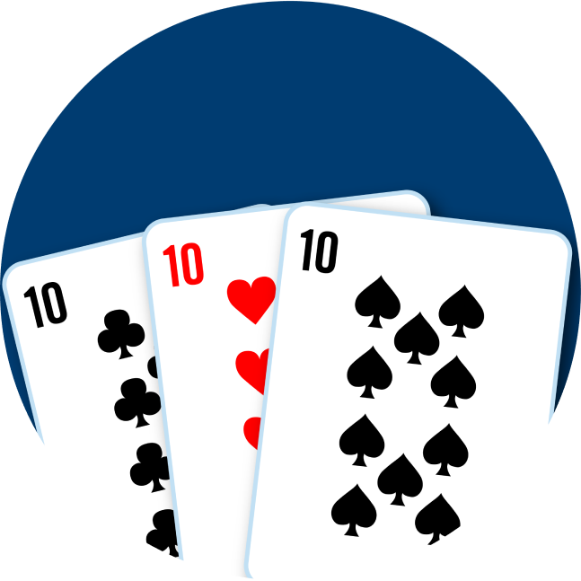 A three of a kind formed with a 10 of clubs, 10 of hearts and a 10 of spades.