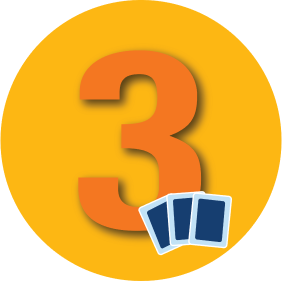 "A number ""3"" is shown with three cards."