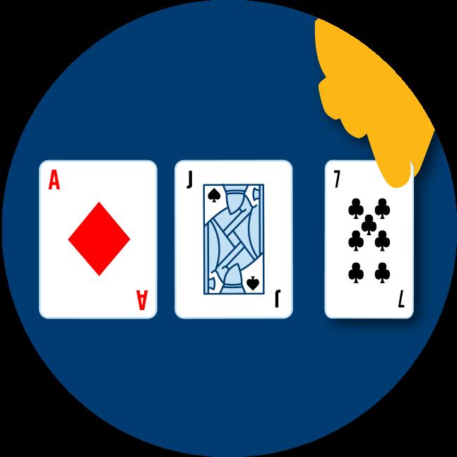 三張牌面朝上,分別為方塊A,黑桃J和梅花7。