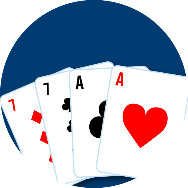 Four cards are shown. The first pair is a 7 of diamonds and a 7 of clubs. On the right is an Ace of Clubs and an Ace of Hearts.