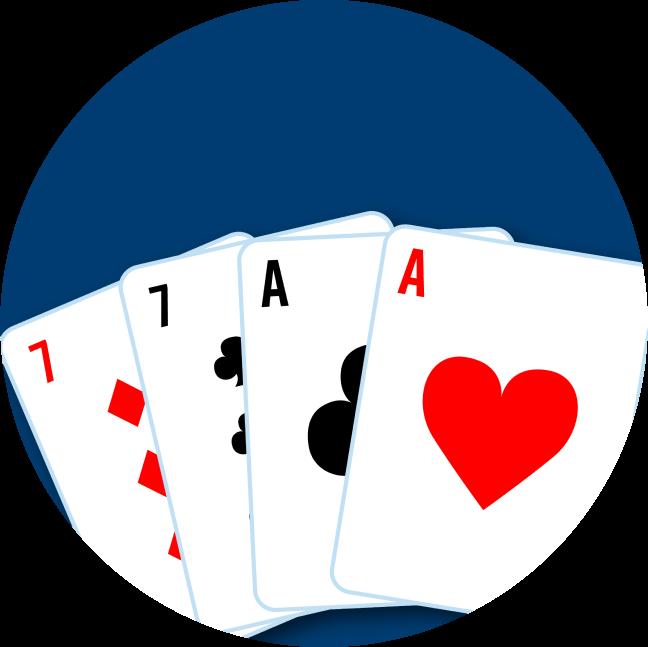 四張牌分別為:一張方塊7,一張梅花7,一張梅花A和一張紅心A。