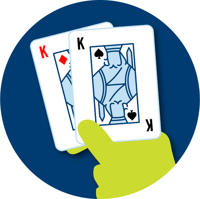 A pair of cards is shown: a King of Diamonds and a King of Spades.