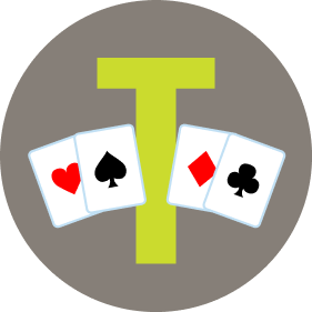 "A letter ""T"" has two cards on each side. On the left is a card with the heart symbol, then a spade. On the right is a card with a diamond symbol, then one with clubs."