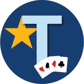 "A letter ""T"" is shown with a star behind it and four cards, each from a different suit."