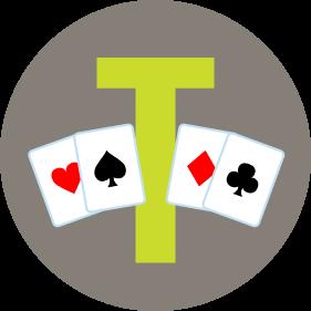 一個字母T兩邊各放了兩張牌。左邊是兩張分別有紅心和黑桃圖案的牌。右邊是兩張分別有方塊和梅花圖案的牌。