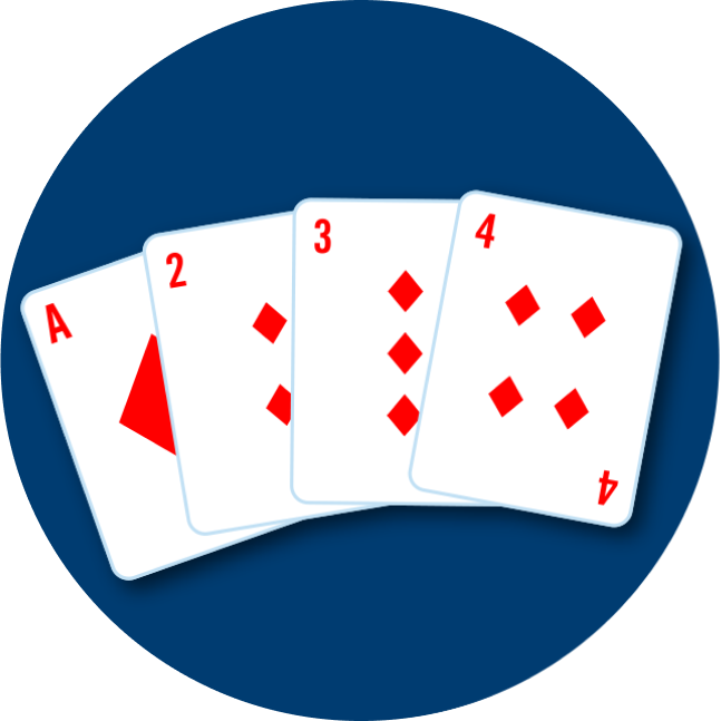 Four cards are shown: an Ace, 2, 3 and 4 of diamonds.