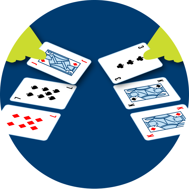Three cards are flipped over on each side. On the left is a 7 of diamonds, a 7 of spades and a Jack of Diamonds. On the right is a King of Diamonds, a King of Spades and a 3 of clubs