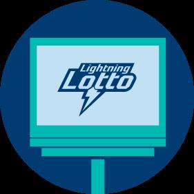 L'écran du client affiche le logo de LIGHTNING LOTTO.