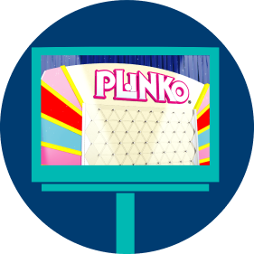 A lottery terminal screen displays an animated PLINKO board where players will watch the animated chip drop.