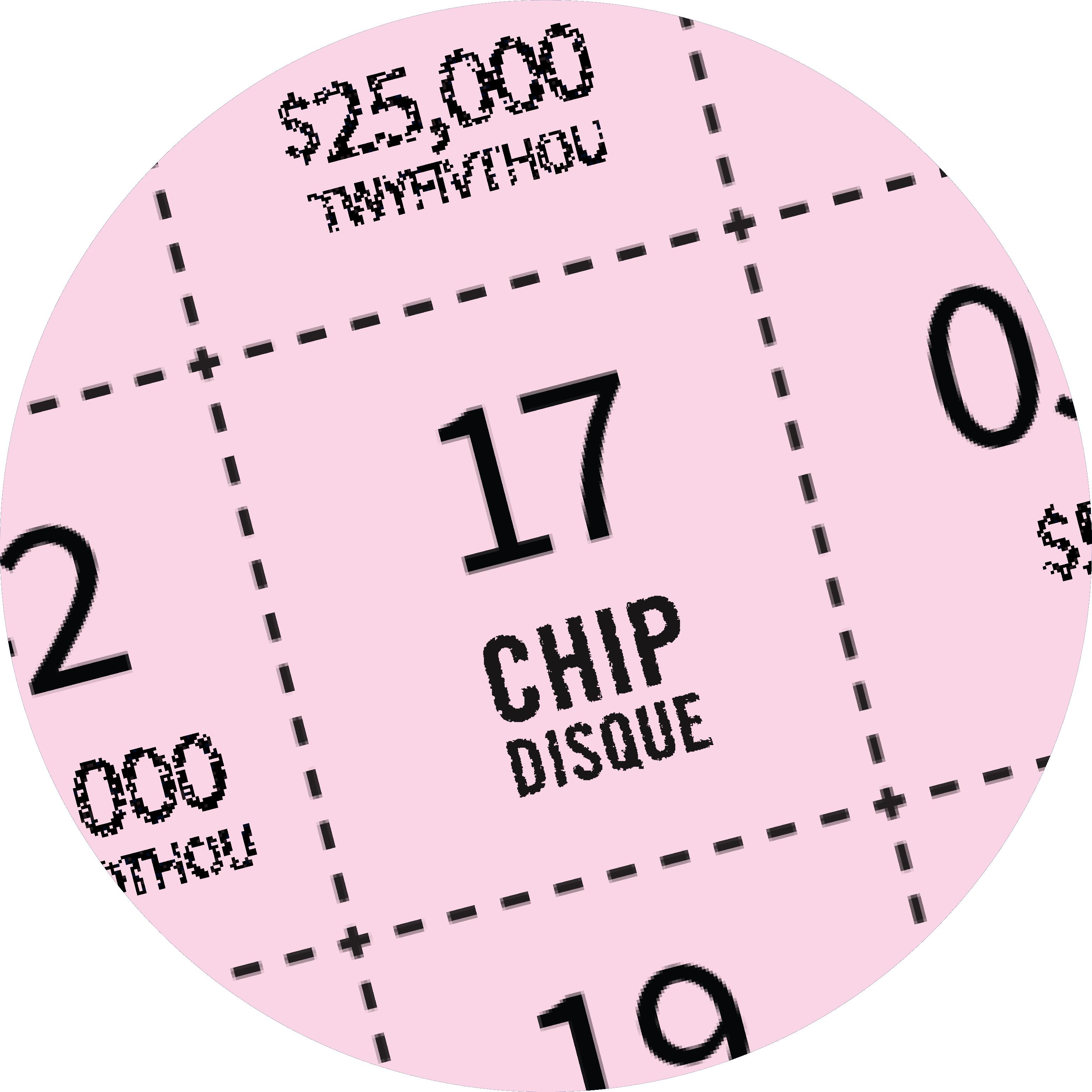 Un gros plan de la surface de jeu VOS NUMÉROS du billet INSTANT PLINKO montre « DISQUE ».