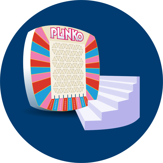 A real PLINKO board is shown where players will drop a chip if they qualify.