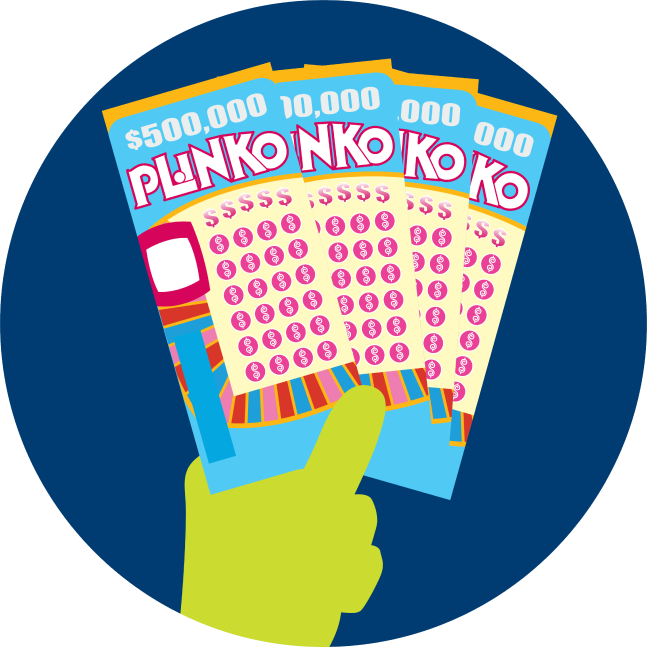 A hand holds four INSTANT PLINKO tickets.