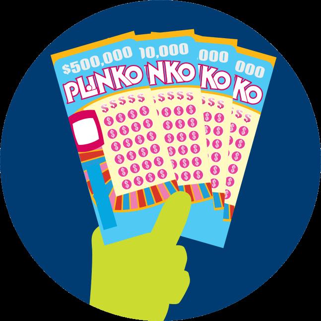 Une main tient trois billets INSTANT PLINKO.