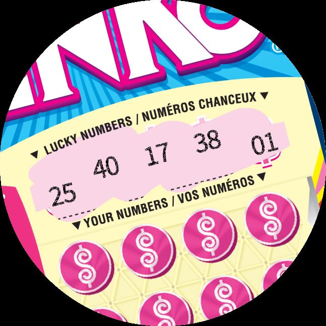 在INSTANT PLINKO彩票的上方,「幸運號碼」被刮開,顯示出數字。