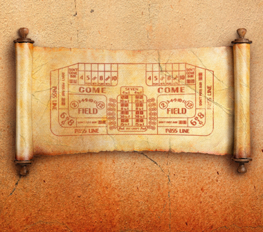 A scroll shows the design of a Craps table