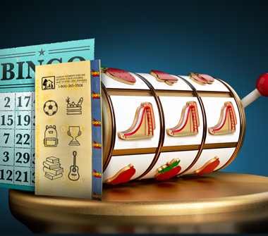 A slot reel displays slides, representing OLG proceeds supporting local communities. Beside the slot reel is a lottery ticket that shows a soccer ball, basket of food, backpack, trophy, books and a guitar. Behind the lottery ticket is a Bingo card.