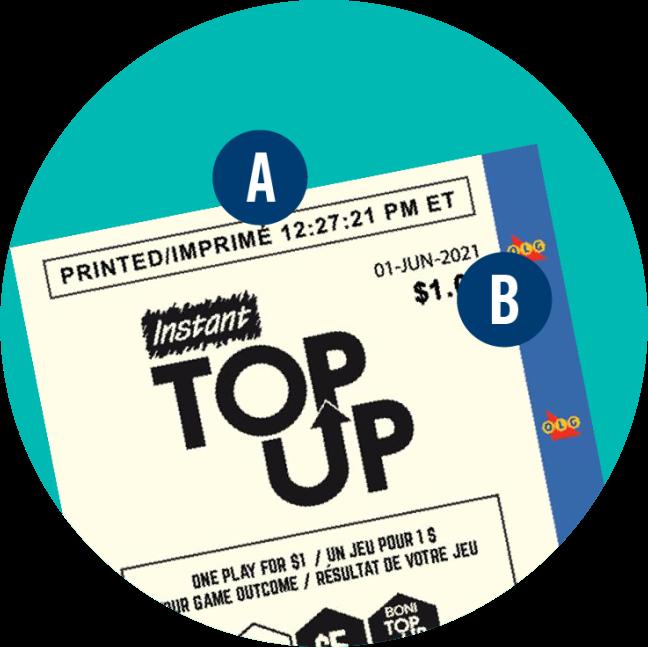 頂部標為「A」的 INSTANT TOP UP 彩票,顯示了彩票打印的時間,而右上角的「B」顯示彩票打印的日期。