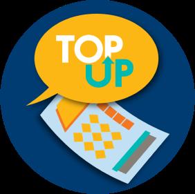 氣泡對話框中寫著文字「TOP UP」,表示玩家可以要求經銷商額外購買一張 TOP UP 彩票。