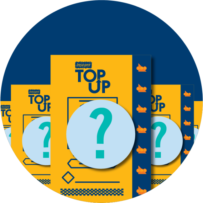 Multiple INSTANT TOP UP tickets are displayed alongside each other with a question mark in each one, signifying that outcomes are random for each ticket.