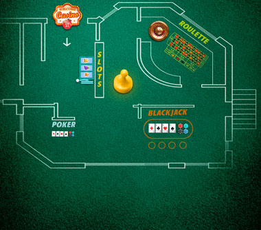 A casino layout is drawn out against a green felt background. On the far left is a blackjack table, near the middle is a Welcome sign, in the middle are the areas for slots and poker. On the far right is an area for roulette.
