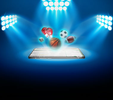 Two sets of stadium spotlights shine on a tablet. Holographic imagery of a baseball, boxing gloves, basketball, soccer ball and football are appearing out of the tablet.