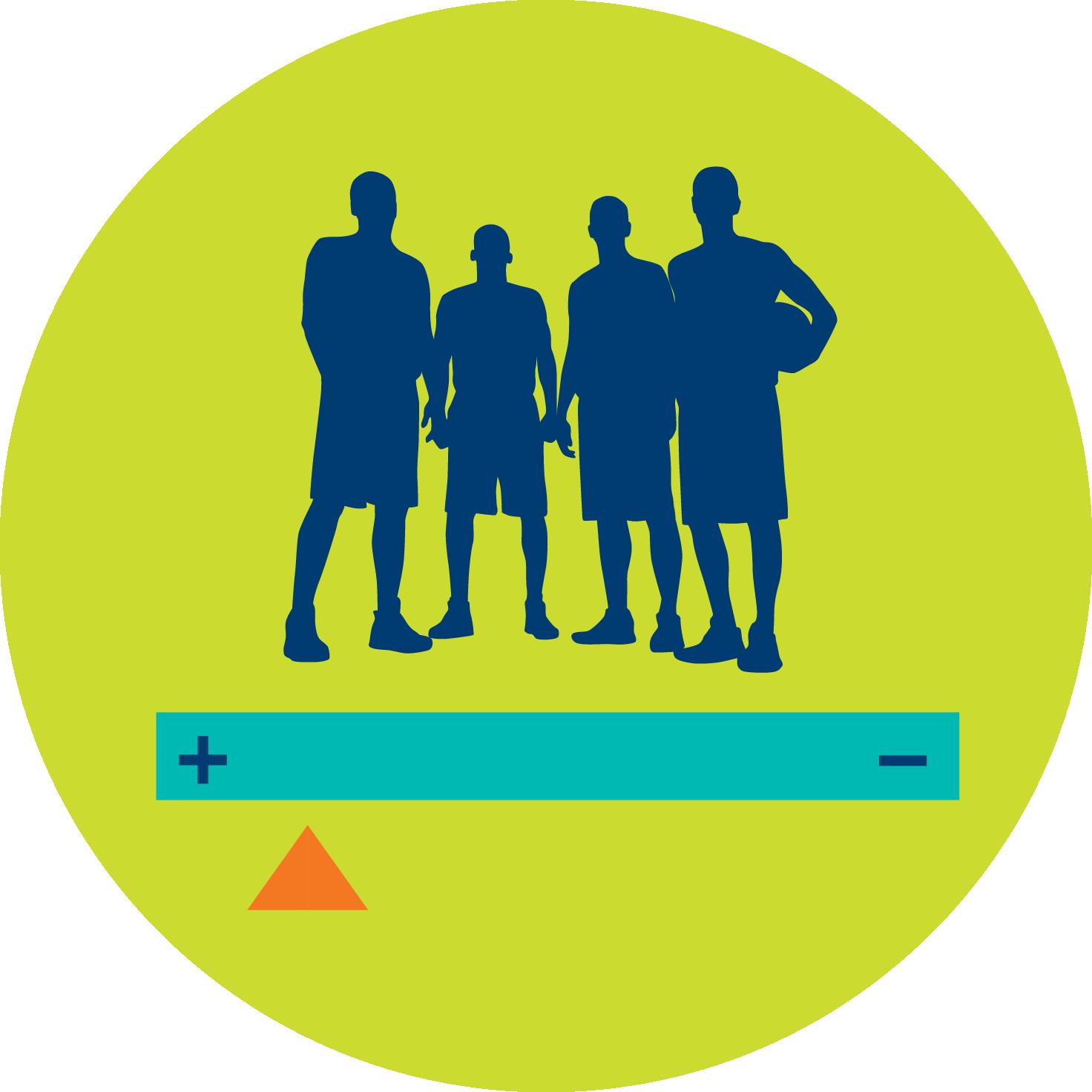 Une équipe au-dessus d'un curseur de défilement représentant la marge de points assignée