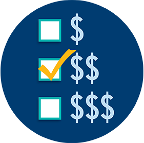 Three spend levels low, medium, and high are shown using dollar signs signifying a player's budget. The middle option is checked off.