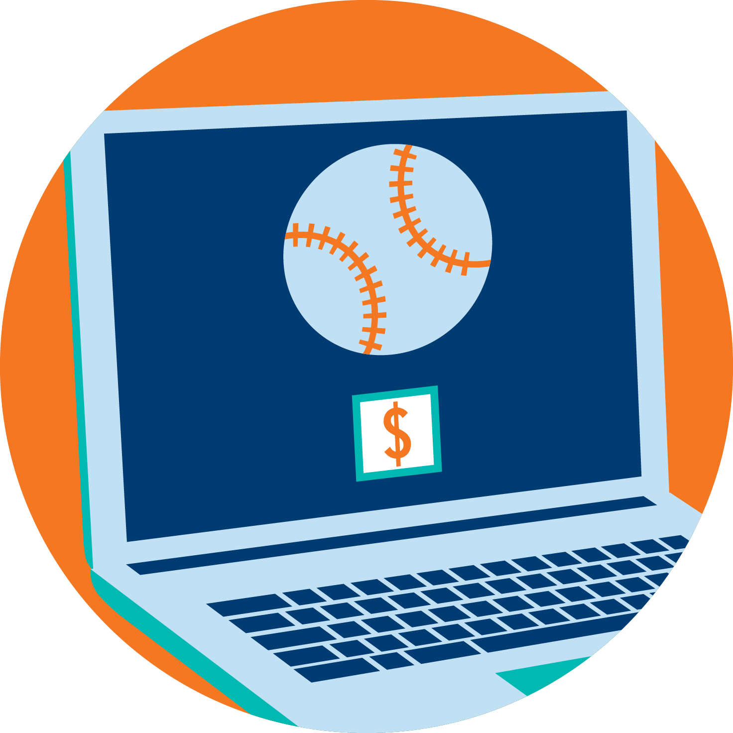 A laptop is shown with one baseball and a box filled in with a dollar sign, signifying one bet being made.